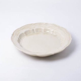 灰釉輪花皿S 12.5cm 樋山真弓