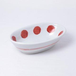 赤絵丸紋楕円小鉢 樋山真弓