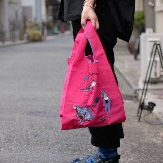 mannine マンナイン 刺繍エコバッグ Beach family Pink