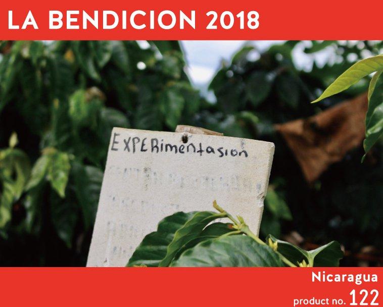 【ニカラグア】ラ・ベンディシオン2017 1,200〜 完熟したマンゴーやライチを思わせるトロピカルフルーツの明るい酸味とハチミツや安納芋のようなとろみを伴った密度の高い甘さ、エルダーフラワーを連想させる甘い清涼感が、飲むごとに変化する複雑な味わいを作り出している。