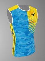 【予約5月末納期】Spu66(上) MIZUNOレーシングシャツ迷彩水色黄色ノースリーブ