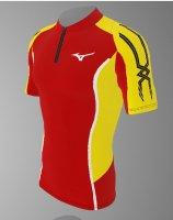 【予約7月末納期】spu74(上) MIZUNOレーシングシャツ赤黄色半袖