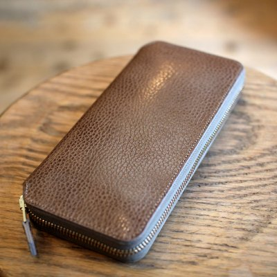 Foot the coacher * LONG ZIP WALLET Gray /Lihgt gold