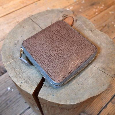 Foot the coacher * SQUARE WALLET Gray /Lihgt gold