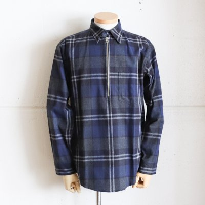 CORONA * NAVY 1 P HALF ZIP PULLOVER SHIRT / PLAID CHECK COTTON NEL