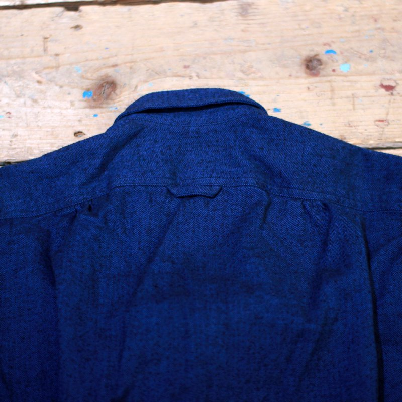 MONITALY * L/S Four pocket military shirt / Cotton flannel herringbone blue