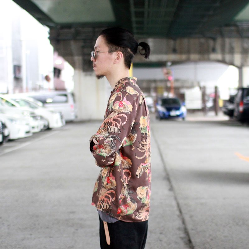 NIPOALOHA * RAYON LONG SLEEVE ALOHA SHIRT / GAME COOK
