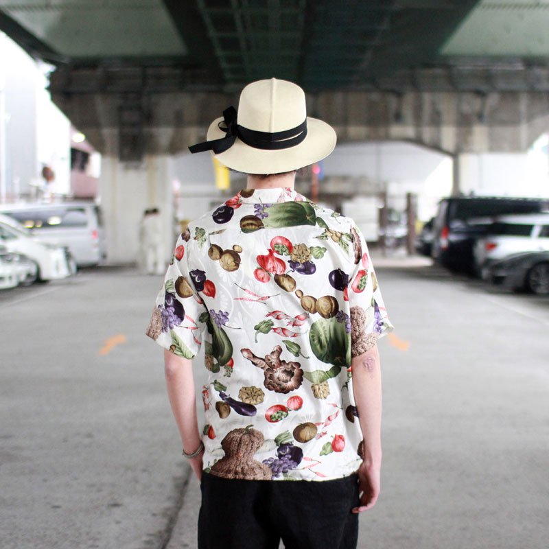 NIPOALOHA * SILK SHORT SLEEVE ALOHA SHIRT / VEGETABLES AND FRUITS