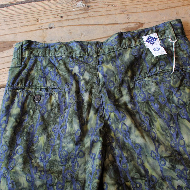 POST OVERALLS * Menpolini Extra Shorts / Cotton Print -Green×Blue-