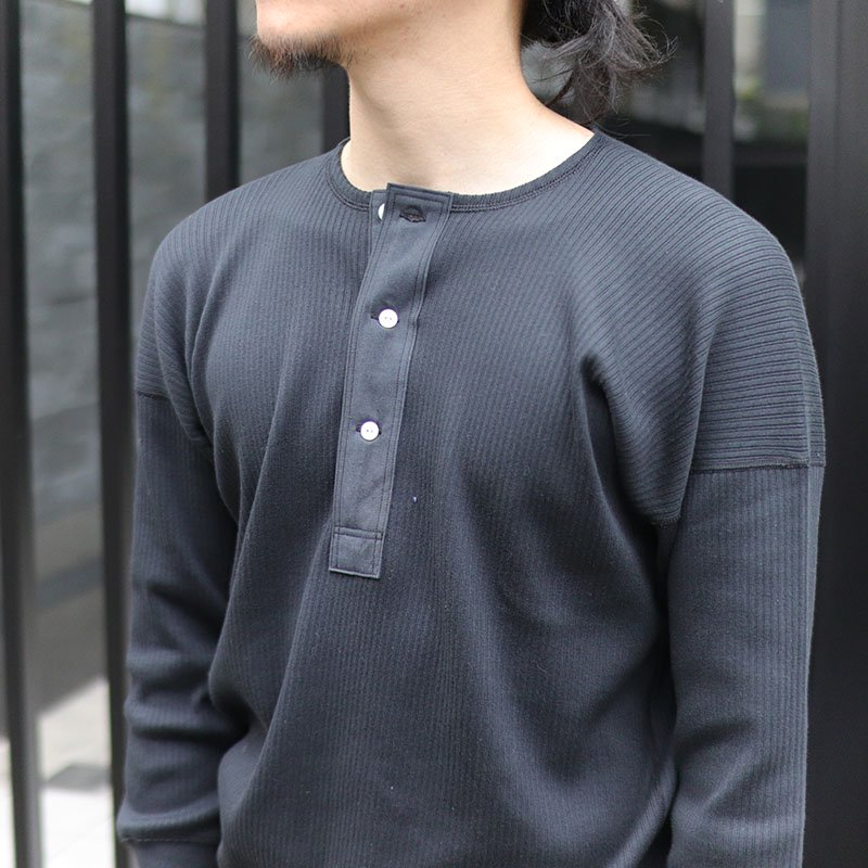 Olde Homesteader * HENRY NECK LS -Swedish Army Rib- / Black