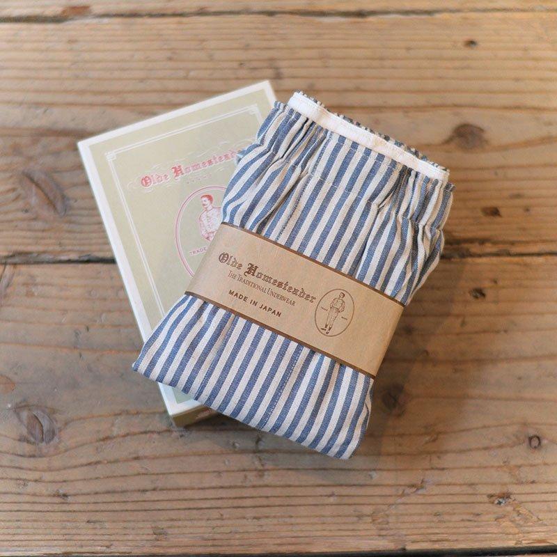 Olde Homesteader * Linen Herringbone / Blue stripe