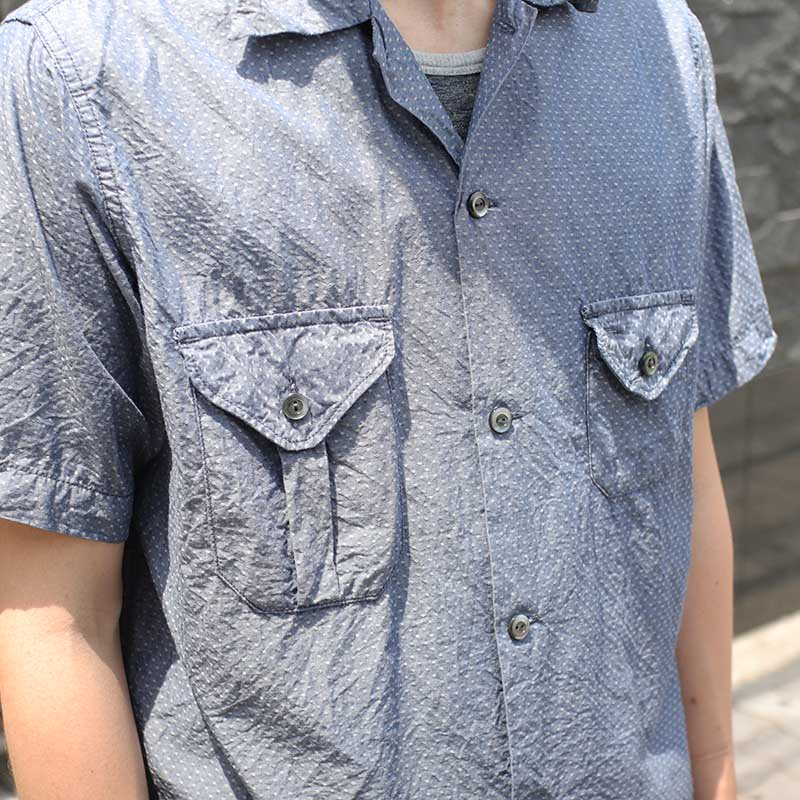 POST OVERALLS * E-Z Cruz Shirt S/S -dobby chambray indigo-