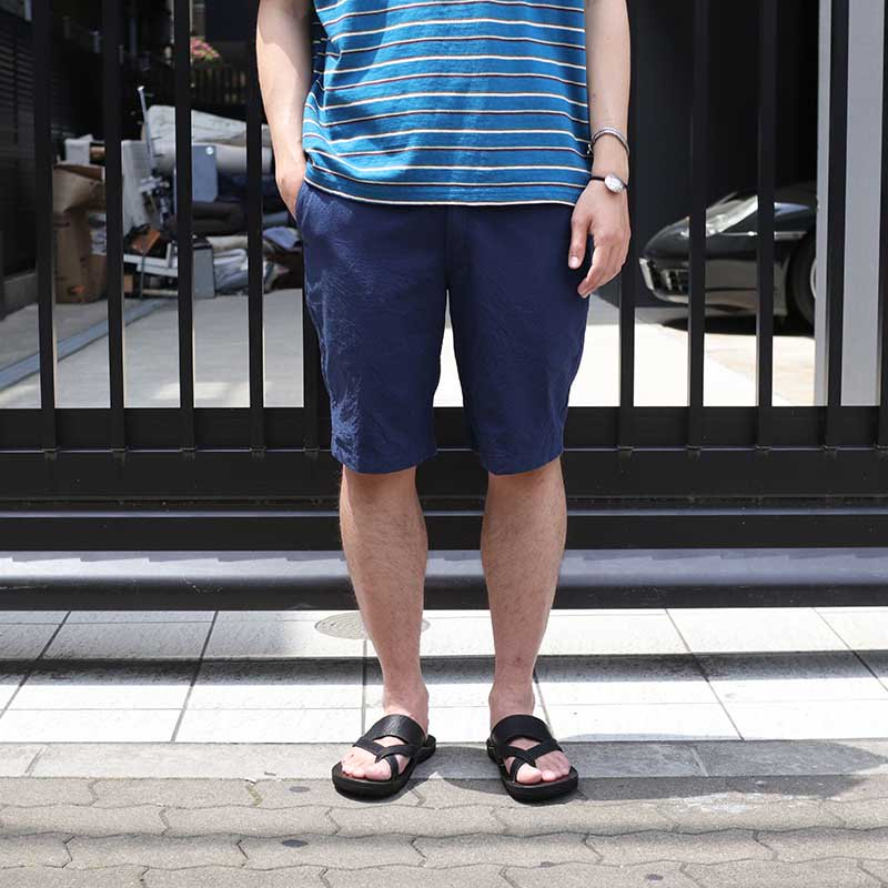 POST OVERALLS * Menpolini Extra Shorts / dobby chambray solid navy