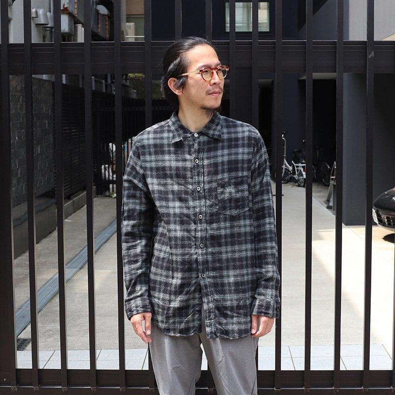 POST OVERALLS * The POST 5 / Plaid flannel -Black × Sage-