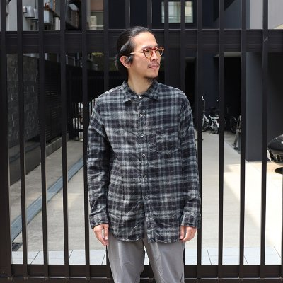 POST OVERALLS * The POST 5 / Plaid flannel -Black × Sage-
