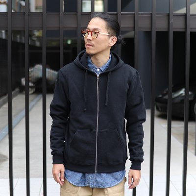 UP CYCLE * HEAVY FLEECE ZIP HOODIE / BLACK