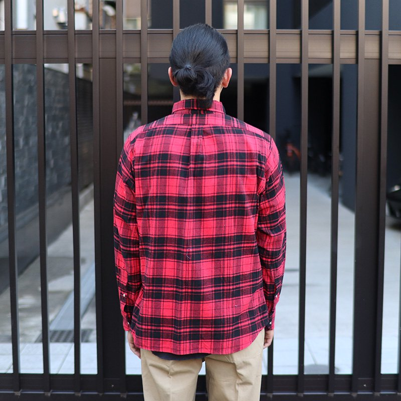 INDIVIDUALIZED SHIRTS  * Check Flannel B.D -Standard fit- / Red