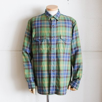 CORONA * NAVY 2 POCKET SHIRT / COTTON CHECK NEL -GREEN × BROWN × ORANGE
