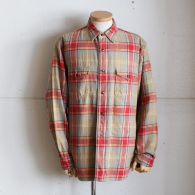 CORONA * NAVY 2 POCKET SHIRT / COTTON CHECK NEL -KHAKI × RED × MUSTERD