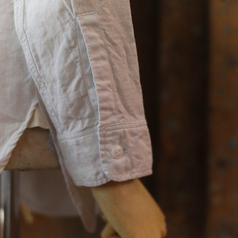 CORONA * NAVY 1 POCKET BAND COLLAR SHIRT -LINEN CHAMBRAY-