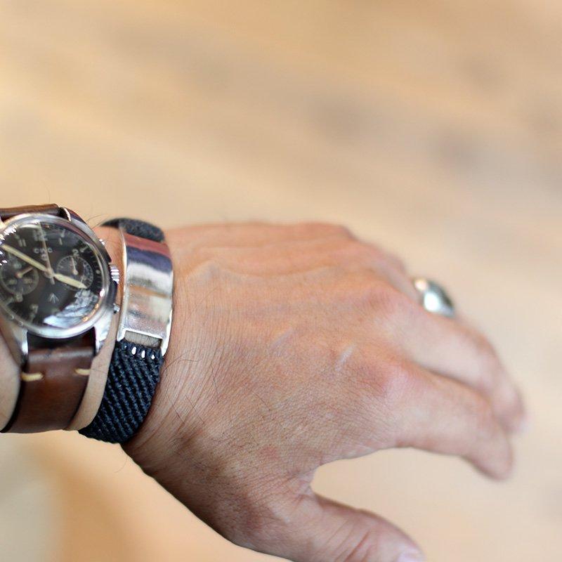 SCOSHA * HAND WOVEN ID BRACELET - Waxed Nylon  Denim