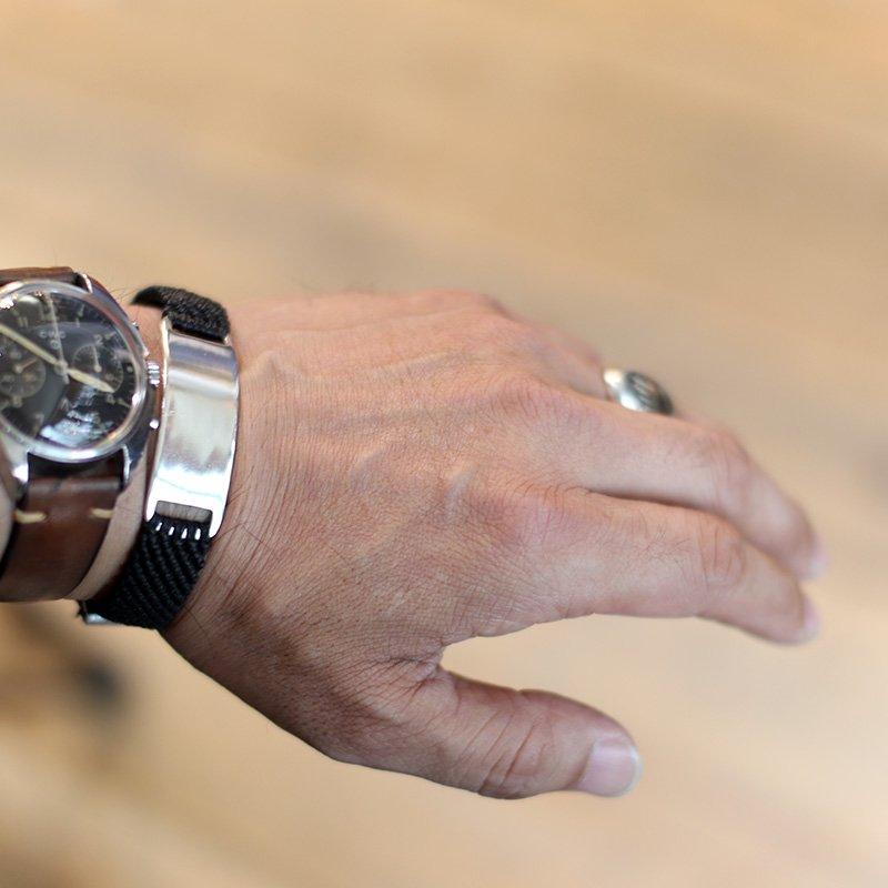 SCOSHA * HAND WOVEN ID BRACELET - Waxed Nylon  Black