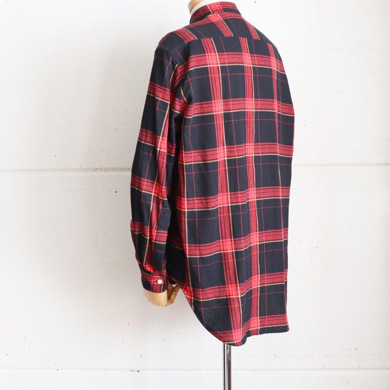 GRANDAD SHIRTS * Irish Grandad Collar Shirts Black x Red