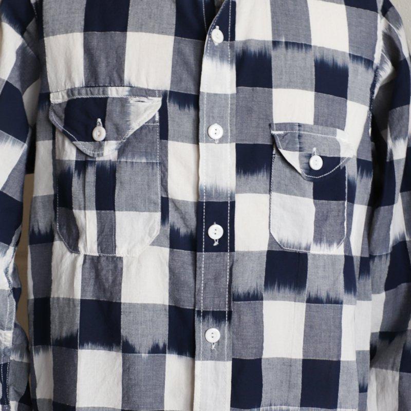 POST OVERALLS * Cruz Shirt 2  Ikat Block Check  Navy/White