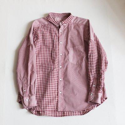 FUNSET OF ART * ギンガムチェックナローB.Dシャツ Red