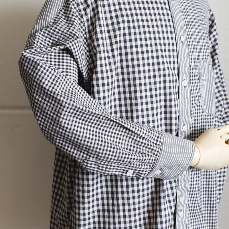 FUNSET OF ART * ギンガムチェックナローB.Dシャツ Black Navy