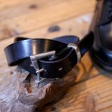 MARTIN FAIZEY * 1.25 inch Bridle leather quick release belt Black