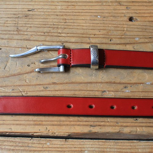 MARTIN FAIZEY * 1 inch Bridle leather quick release belt Red