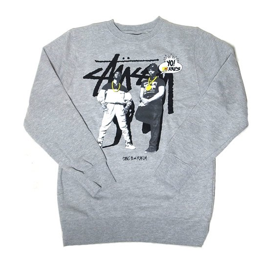 <img class='new_mark_img1' src='//img.shop-pro.jp/img/new/icons20.gif' style='border:none;display:inline;margin:0px;padding:0px;width:auto;' />【50%OFF】<p>STUSSY × Yo! MTV Raps<p/><p>ステューシー<p/><p>Eric B & Rakim クルーネックスウェット gray<p/>
