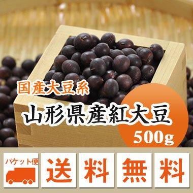 【ゆうメール便送料無料】【28年産】山形県産紅大豆(500g)※代引不可・同梱不可商品