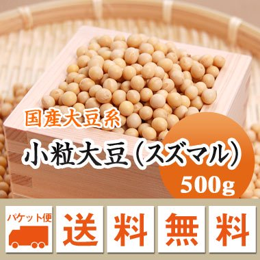 【ゆうメール便送料無料】【28年産】北海道産 小粒大豆(スズマル)(500g)