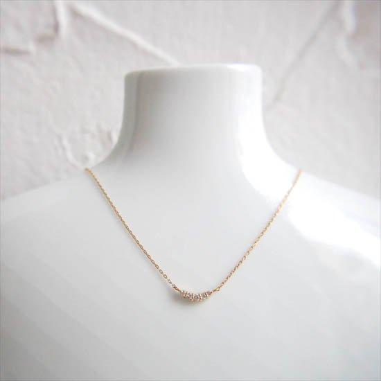 NUQUEニューク/K18YGダイヤモンド5石ネックレス