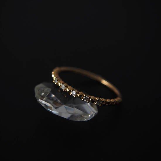NUQUEニューク/K18YGダイヤモンド5石リング