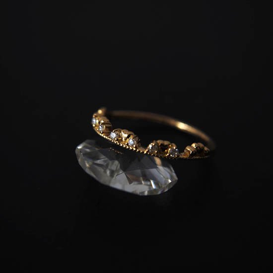 NUQUEニューク/K18YGダイヤモンド&ハートリング