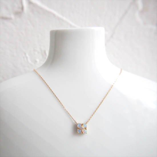 NUQUEニューク/K18YGダイヤモンド&オパールネックレス