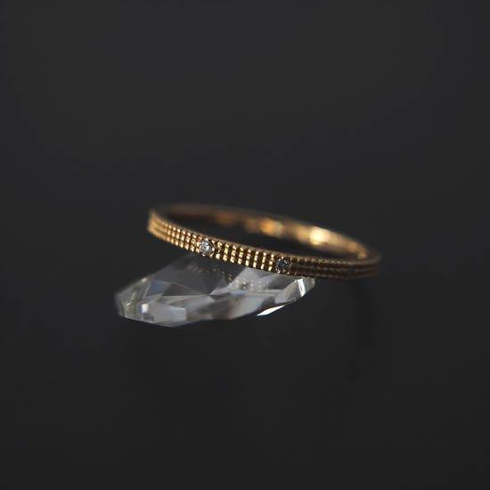 NUQUEニューク/K18YGダイヤモンド3石リング