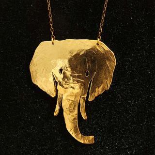 動物シルエットネックレス「アフリカゾウ」