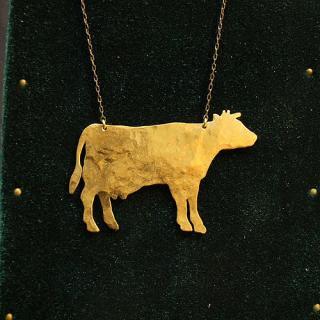 動物シルエットネックレス「牛」
