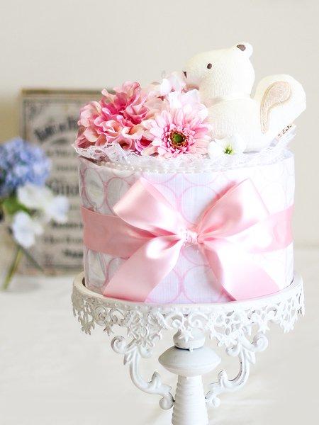 オーガニックおもちゃ付き おくるみブランケットケーキ・サークルピンク