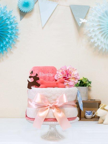 ワンちゃん用ひんやりマット付きペットシーツケーキ おいしいビスケット ピンク