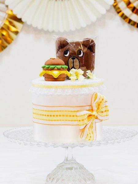 ワンちゃん用おもちゃ付きペットシーツケーキ くまおnoバーガー