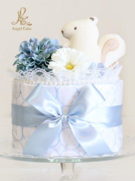オーガニックおもちゃ付き おくるみブランケットケーキ・サークルブルー