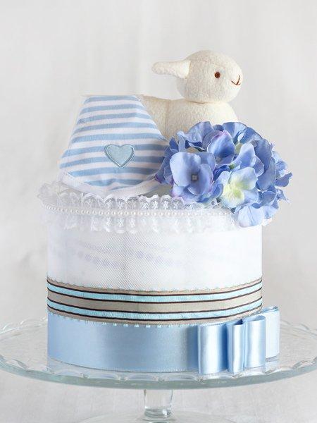 スタイとぬいぐるみ付きおむつケーキ「メリイ・ブルー」