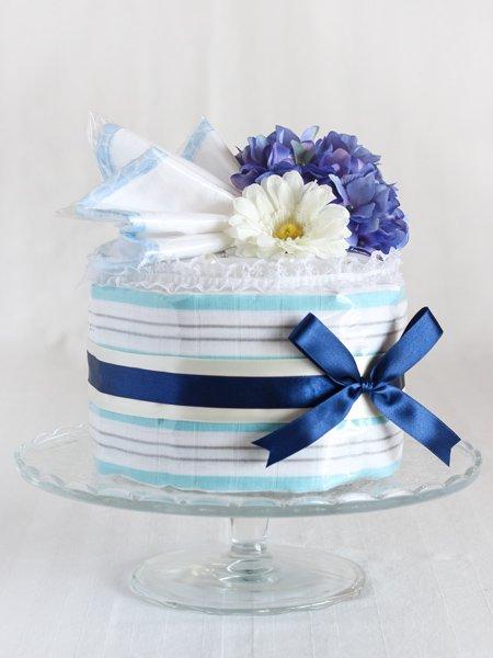 おくるみ・ウォッシュクロス付きおむつケーキ 「ブルー・ストライプ」