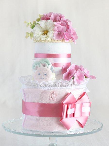 リストラトル・スタイ付きおむつケーキ「フローラ・フローラ」ピンク