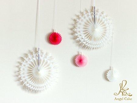 ペーパーファン5個セット (ホワイト&ピンク)